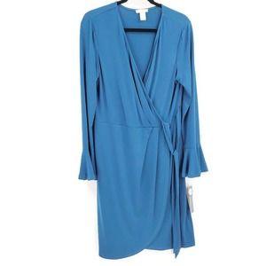 London Times Harbour Blue Wrap Dress Long Sleeve
